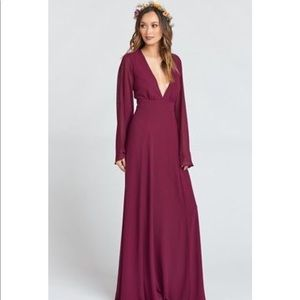 VENUS LONG SLEEVE FLARE DRESS MERLOT CHIFFON